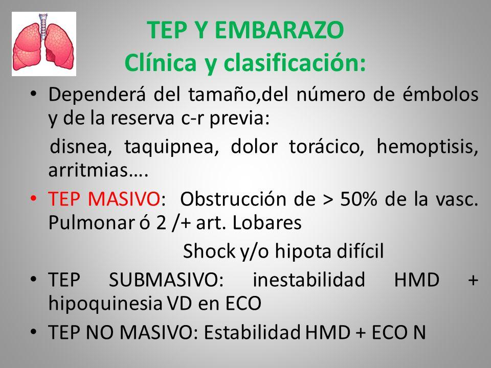 TEP Y EMBARAZO Clínica y clasificación: Dependerá del tamaño,del número de émbolos y de la reserva c-r previa: disnea, taquipnea, dolor torácico, hemo