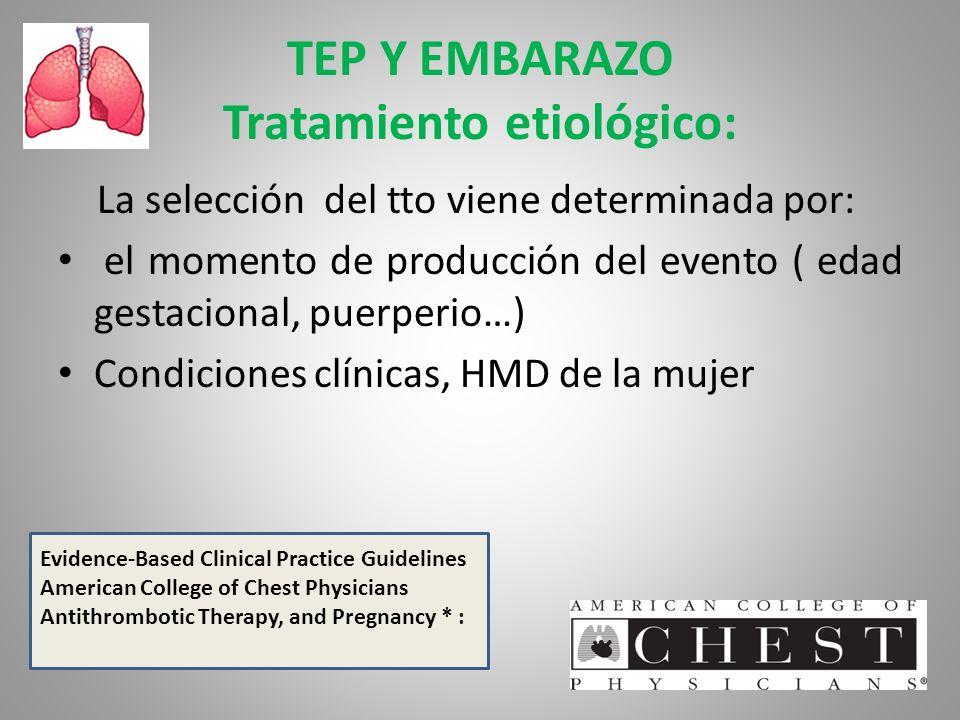 TEP Y EMBARAZO Tratamiento etiológico: La selección del tto viene determinada por: el momento de producción del evento ( edad gestacional, puerperio…)
