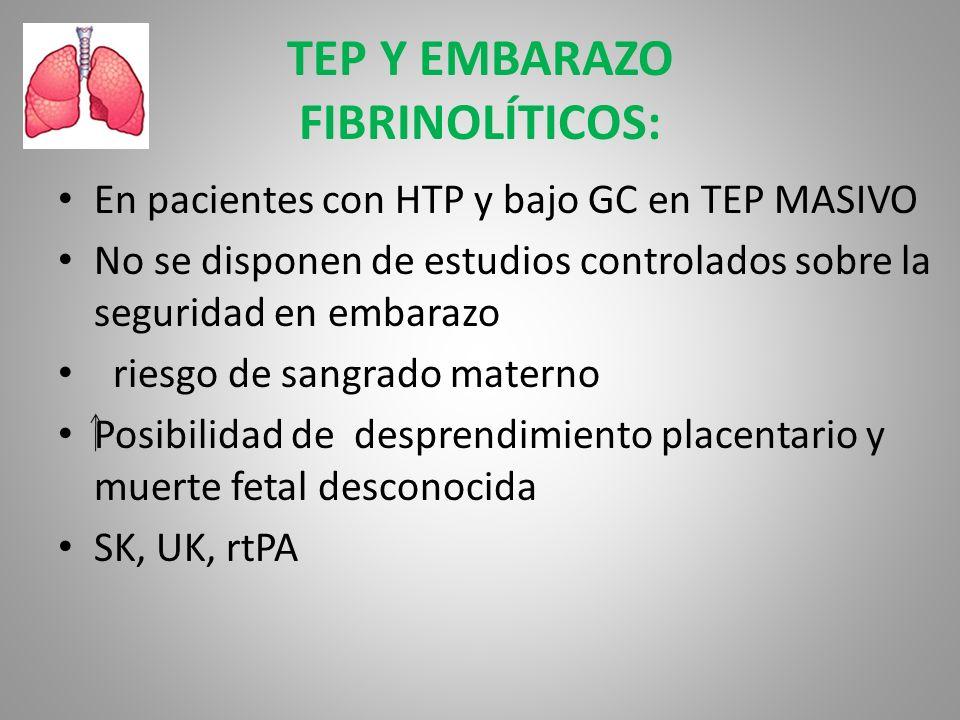 TEP Y EMBARAZO FIBRINOLÍTICOS: En pacientes con HTP y bajo GC en TEP MASIVO No se disponen de estudios controlados sobre la seguridad en embarazo ries