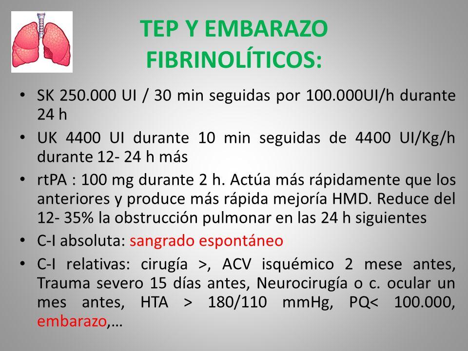 TEP Y EMBARAZO FIBRINOLÍTICOS: SK 250.000 UI / 30 min seguidas por 100.000UI/h durante 24 h UK 4400 UI durante 10 min seguidas de 4400 UI/Kg/h durante