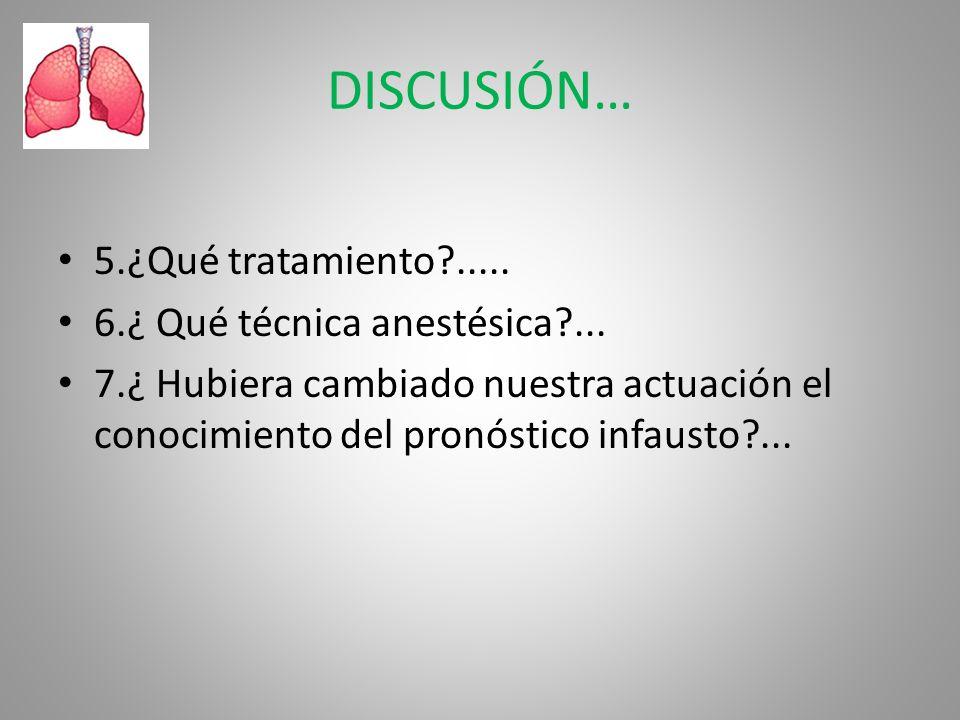DISCUSIÓN… 5.¿Qué tratamiento?..... 6.¿ Qué técnica anestésica?... 7.¿ Hubiera cambiado nuestra actuación el conocimiento del pronóstico infausto?...