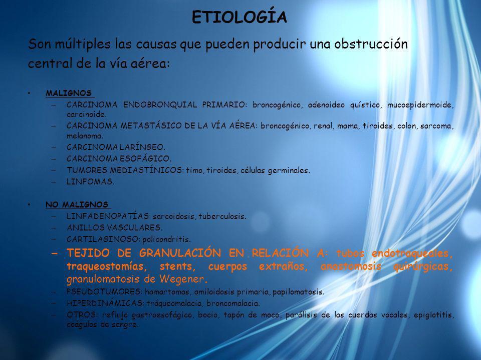 ETIOLOGÍA Son múltiples las causas que pueden producir una obstrucción central de la vía aérea: MALIGNOS – CARCINOMA ENDOBRONQUIAL PRIMARIO: broncogén