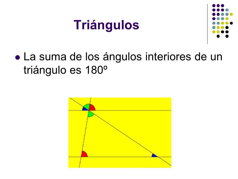 Triángulos La suma de los ángulos interiores de un triángulo es 180º