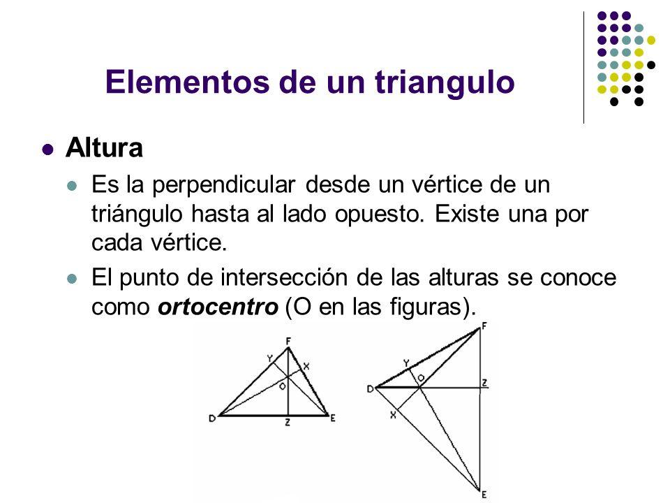 Elementos de un triangulo Altura Es la perpendicular desde un vértice de un triángulo hasta al lado opuesto. Existe una por cada vértice. El punto de