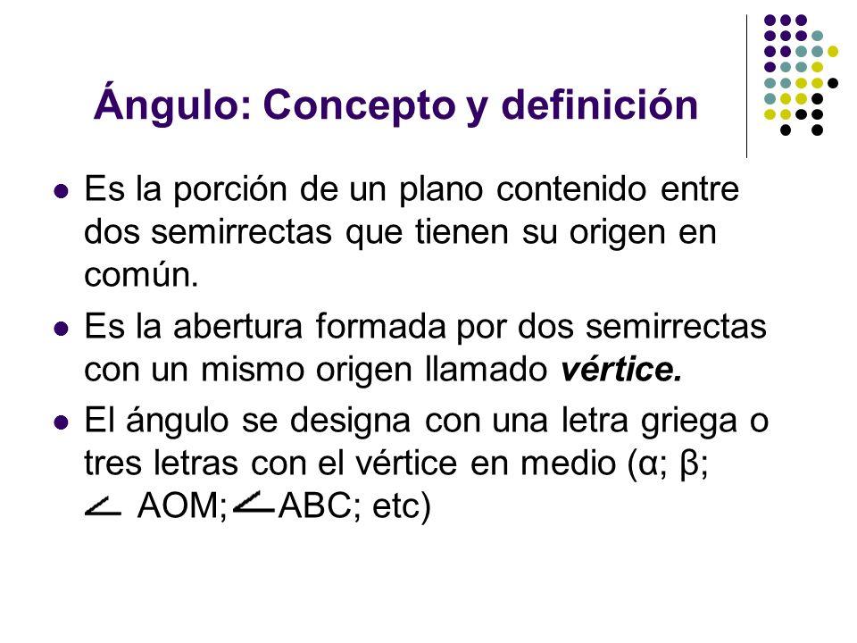 Ángulo: Concepto y definición Es la porción de un plano contenido entre dos semirrectas que tienen su origen en común. Es la abertura formada por dos