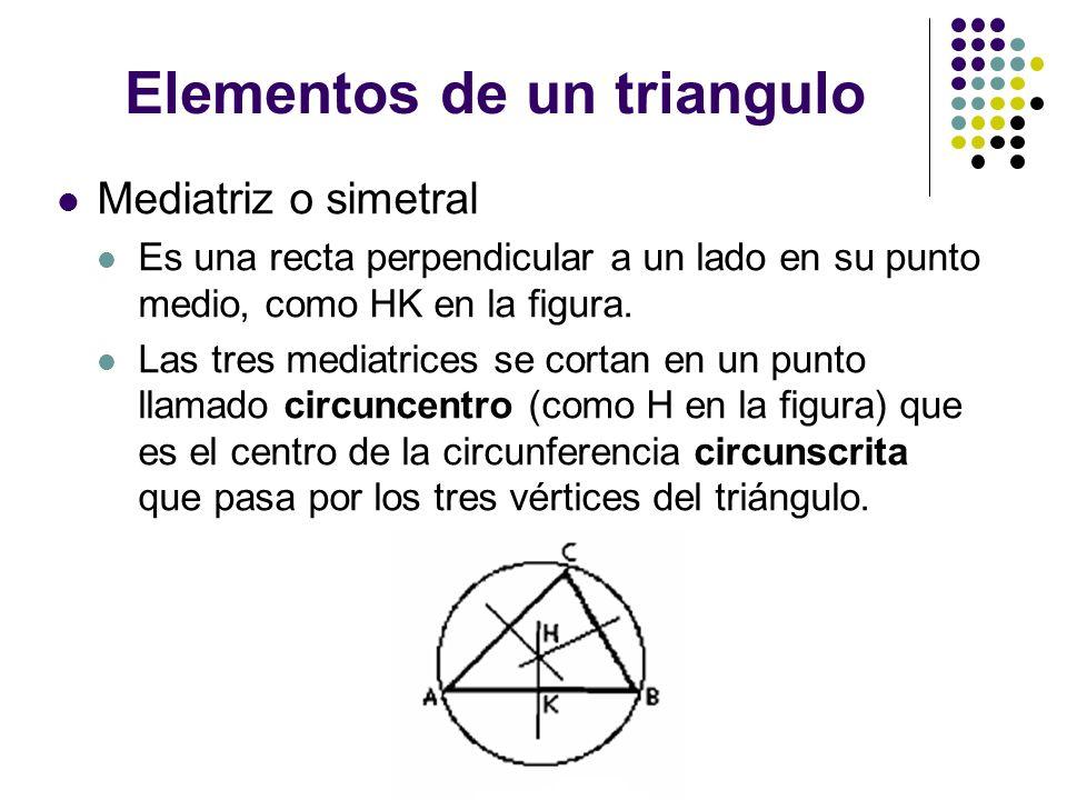 Elementos de un triangulo Mediatriz o simetral Es una recta perpendicular a un lado en su punto medio, como HK en la figura. Las tres mediatrices se c