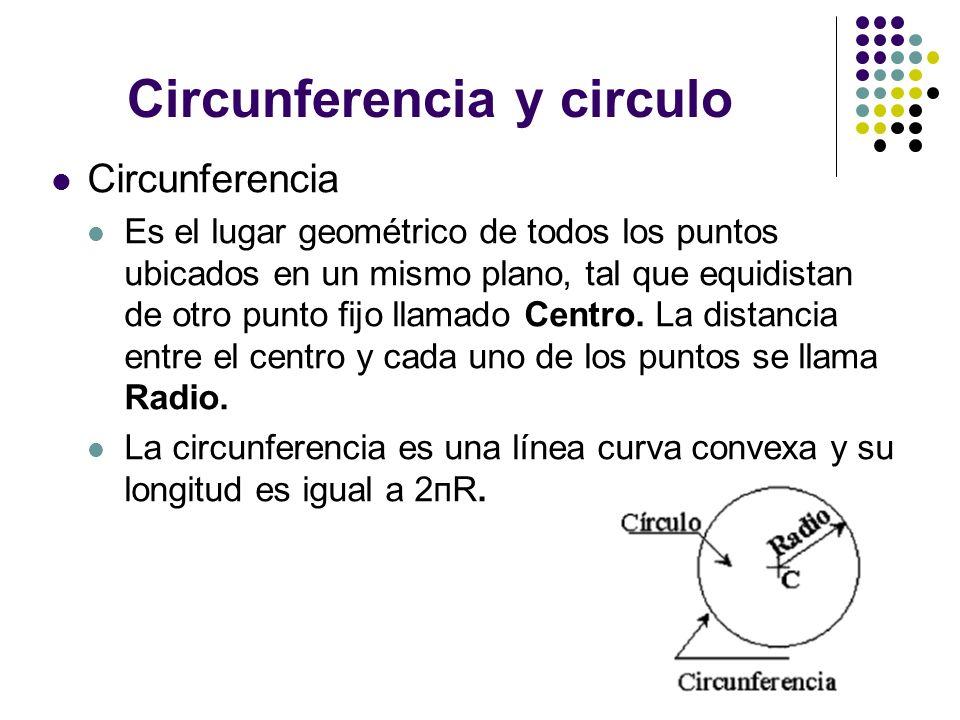 Circunferencia y circulo Circunferencia Es el lugar geométrico de todos los puntos ubicados en un mismo plano, tal que equidistan de otro punto fijo l