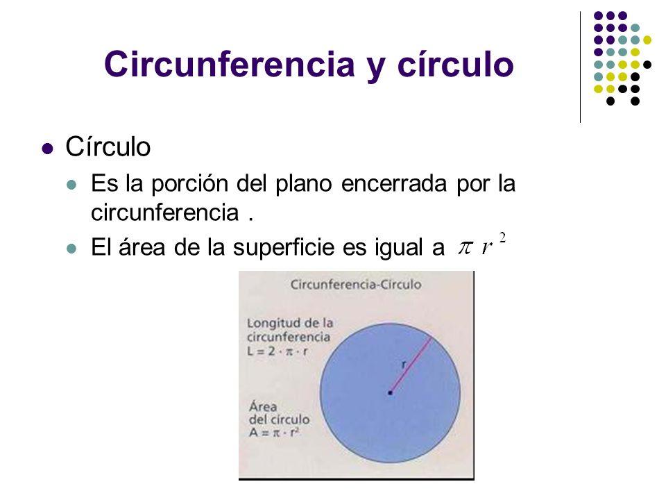 Circunferencia y círculo Círculo Es la porción del plano encerrada por la circunferencia. El área de la superficie es igual a