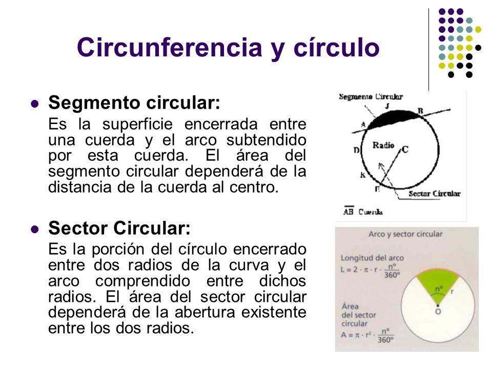 Circunferencia y círculo Segmento circular: Es la superficie encerrada entre una cuerda y el arco subtendido por esta cuerda. El área del segmento cir