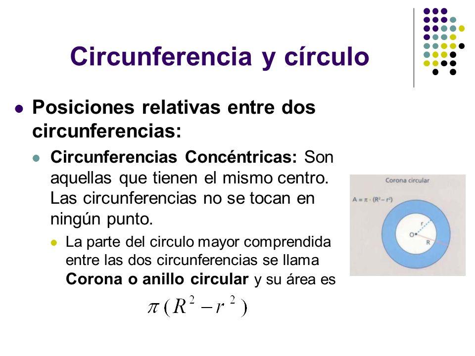 Circunferencia y círculo Posiciones relativas entre dos circunferencias: Circunferencias Concéntricas: Son aquellas que tienen el mismo centro. Las ci