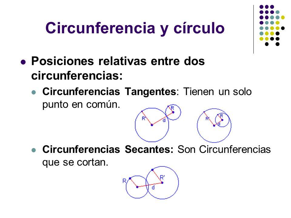 Circunferencia y círculo Posiciones relativas entre dos circunferencias: Circunferencias Tangentes: Tienen un solo punto en común. Circunferencias Sec