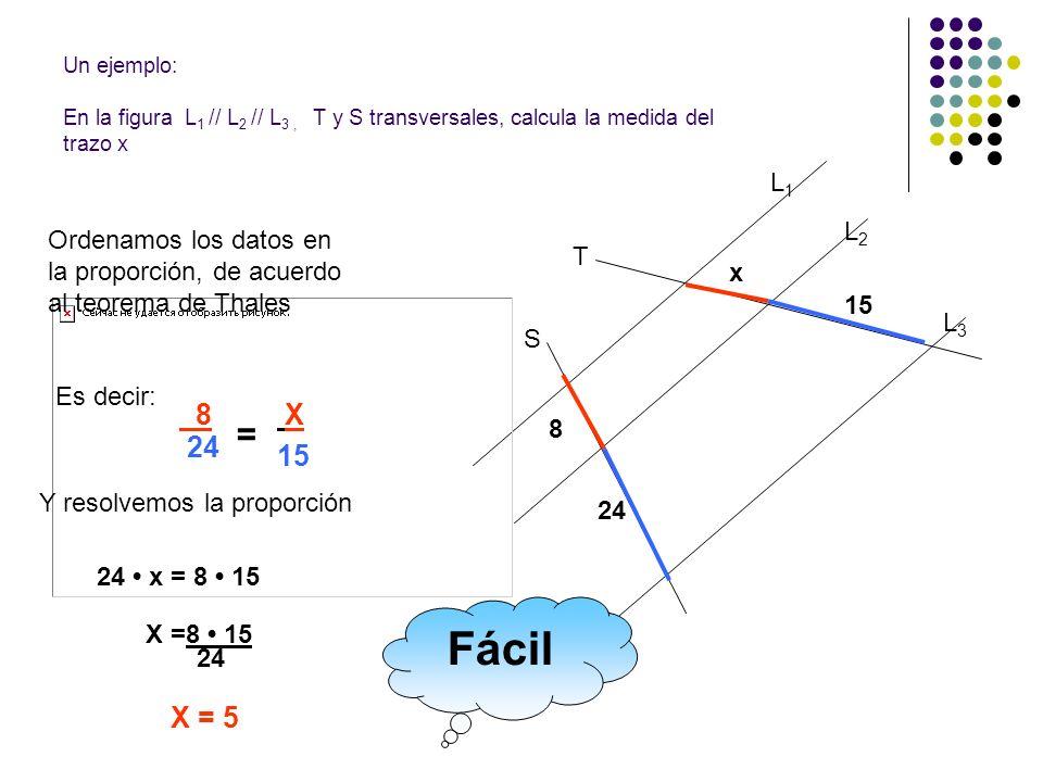 L1L1 L2L2 L3L3 T S 8 24 x 15 Un ejemplo: En la figura L 1 // L 2 // L 3, T y S transversales, calcula la medida del trazo x Ordenamos los datos en la
