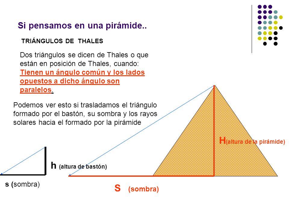 Si pensamos en una pirámide.. TRIÁNGULOS DE THALES Dos triángulos se dicen de Thales o que están en posición de Thales, cuando: Tienen un ángulo común