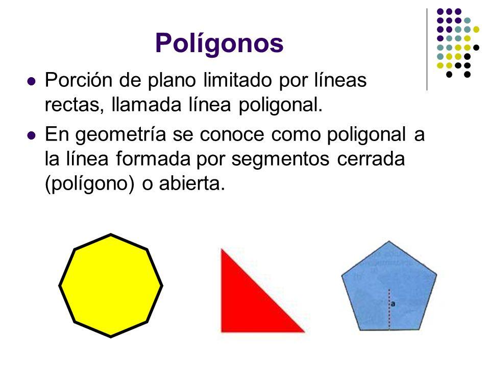 Polígonos Porción de plano limitado por líneas rectas, llamada línea poligonal. En geometría se conoce como poligonal a la línea formada por segmentos