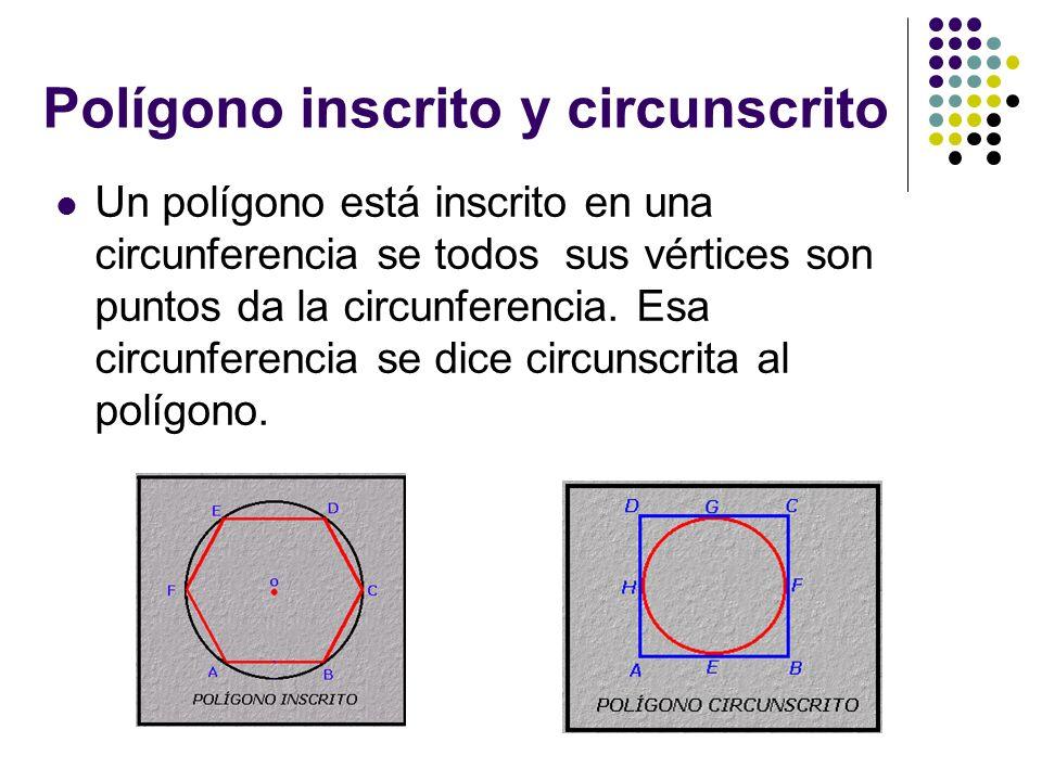 Polígono inscrito y circunscrito Un polígono está inscrito en una circunferencia se todos sus vértices son puntos da la circunferencia. Esa circunfere