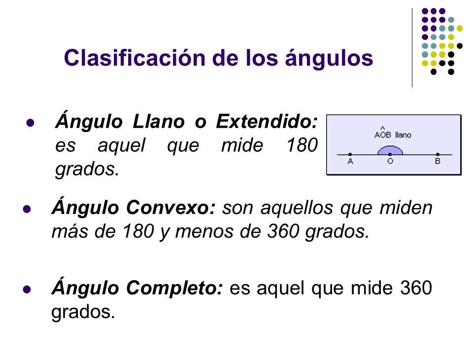 Clasificación de los ángulos Ángulo Llano o Extendido: es aquel que mide 180 grados. Ángulo Convexo: son aquellos que miden más de 180 y menos de 360