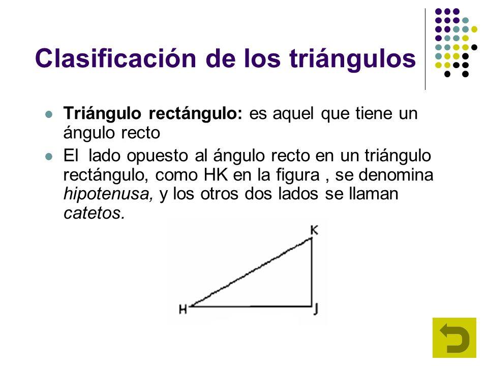 Clasificación de los triángulos Triángulo rectángulo: es aquel que tiene un ángulo recto El lado opuesto al ángulo recto en un triángulo rectángulo, c