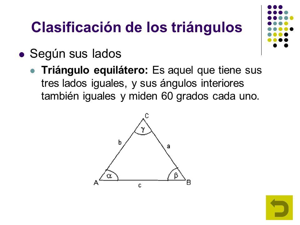 Clasificación de los triángulos Según sus lados Triángulo equilátero: Es aquel que tiene sus tres lados iguales, y sus ángulos interiores también igua