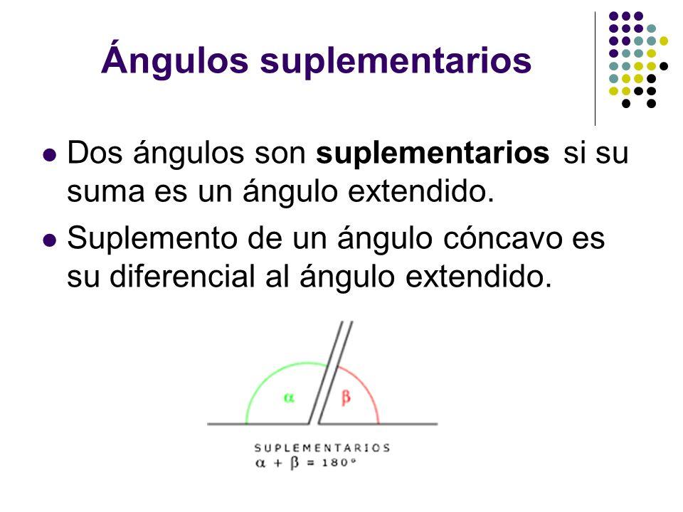Ángulos suplementarios Dos ángulos son suplementarios si su suma es un ángulo extendido. Suplemento de un ángulo cóncavo es su diferencial al ángulo e