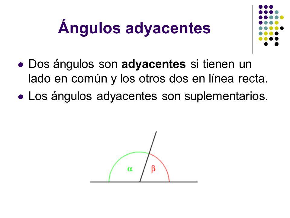 Ángulos adyacentes Dos ángulos son adyacentes si tienen un lado en común y los otros dos en línea recta. Los ángulos adyacentes son suplementarios.