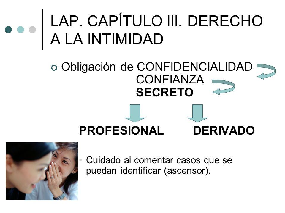 LAP. CAPÍTULO III. DERECHO A LA INTIMIDAD Obligación de CONFIDENCIALIDAD CONFIANZA SECRETO PROFESIONALDERIVADO Cuidado al comentar casos que se puedan