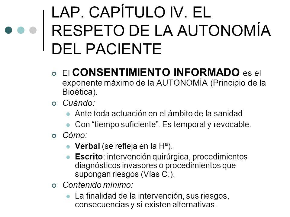 LAP. CAPÍTULO IV. EL RESPETO DE LA AUTONOMÍA DEL PACIENTE El CONSENTIMIENTO INFORMADO es el exponente máximo de la AUTONOMÍA (Principio de la Bioética