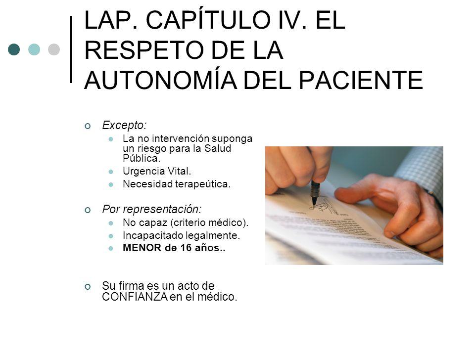 LAP. CAPÍTULO IV. EL RESPETO DE LA AUTONOMÍA DEL PACIENTE Excepto: La no intervención suponga un riesgo para la Salud Pública. Urgencia Vital. Necesid