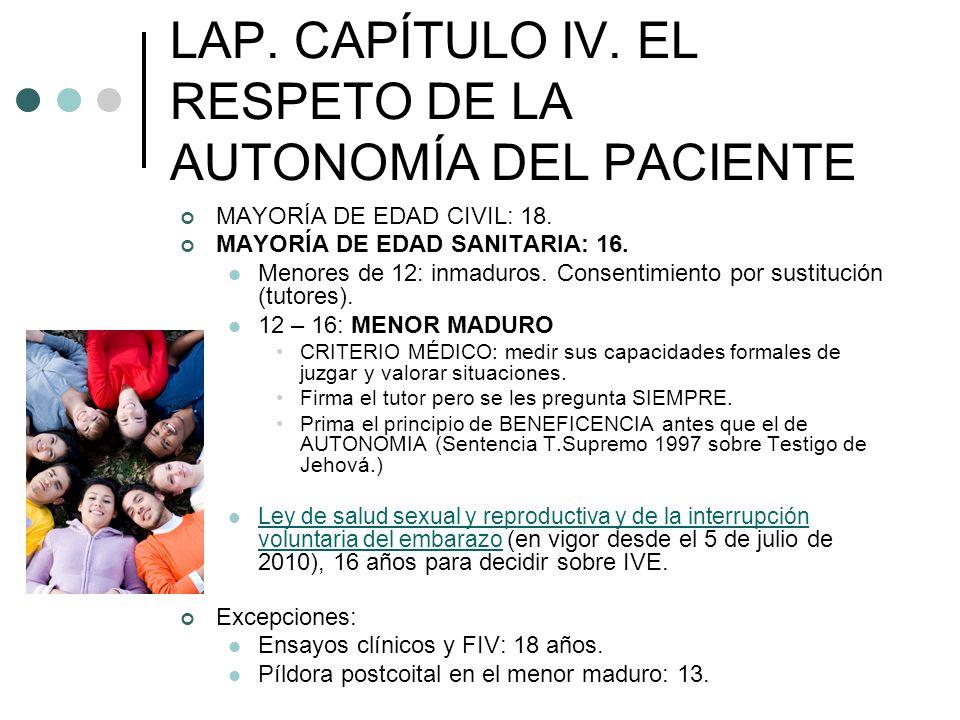 LAP. CAPÍTULO IV. EL RESPETO DE LA AUTONOMÍA DEL PACIENTE MAYORÍA DE EDAD CIVIL: 18. MAYORÍA DE EDAD SANITARIA: 16. Menores de 12: inmaduros. Consenti