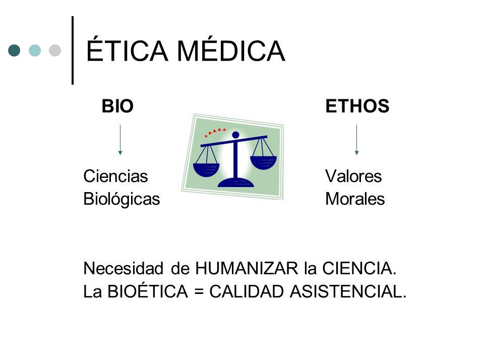 ÉTICA MÉDICA BIOETHOS CienciasValores BiológicasMorales Necesidad de HUMANIZAR la CIENCIA. La BIOÉTICA = CALIDAD ASISTENCIAL.