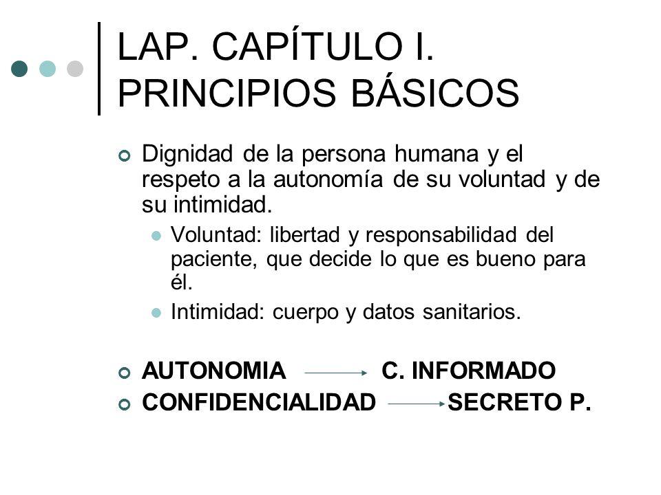 LAP. CAPÍTULO I. PRINCIPIOS BÁSICOS Dignidad de la persona humana y el respeto a la autonomía de su voluntad y de su intimidad. Voluntad: libertad y r