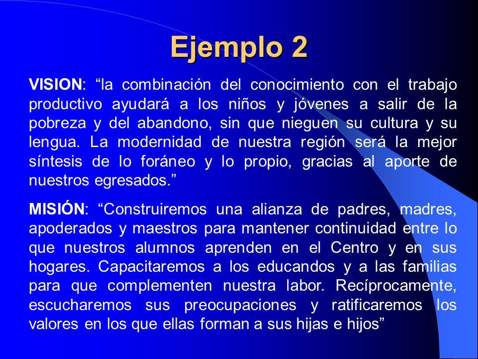Ejemplo 2 VISION: la combinación del conocimiento con el trabajo productivo ayudará a los niños y jóvenes a salir de la pobreza y del abandono, sin qu