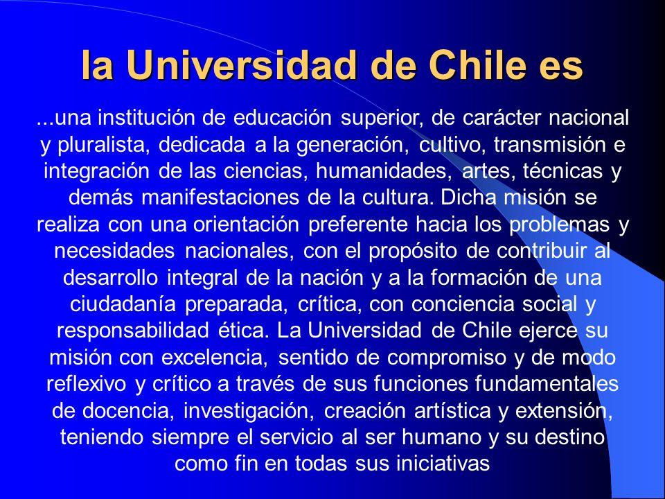 la Universidad de Chile es...una institución de educación superior, de carácter nacional y pluralista, dedicada a la generación, cultivo, transmisión
