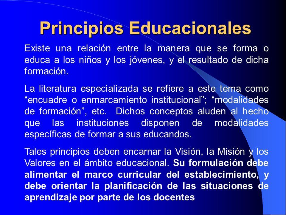 Principios Educacionales Existe una relación entre la manera que se forma o educa a los niños y los jóvenes, y el resultado de dicha formación. La lit