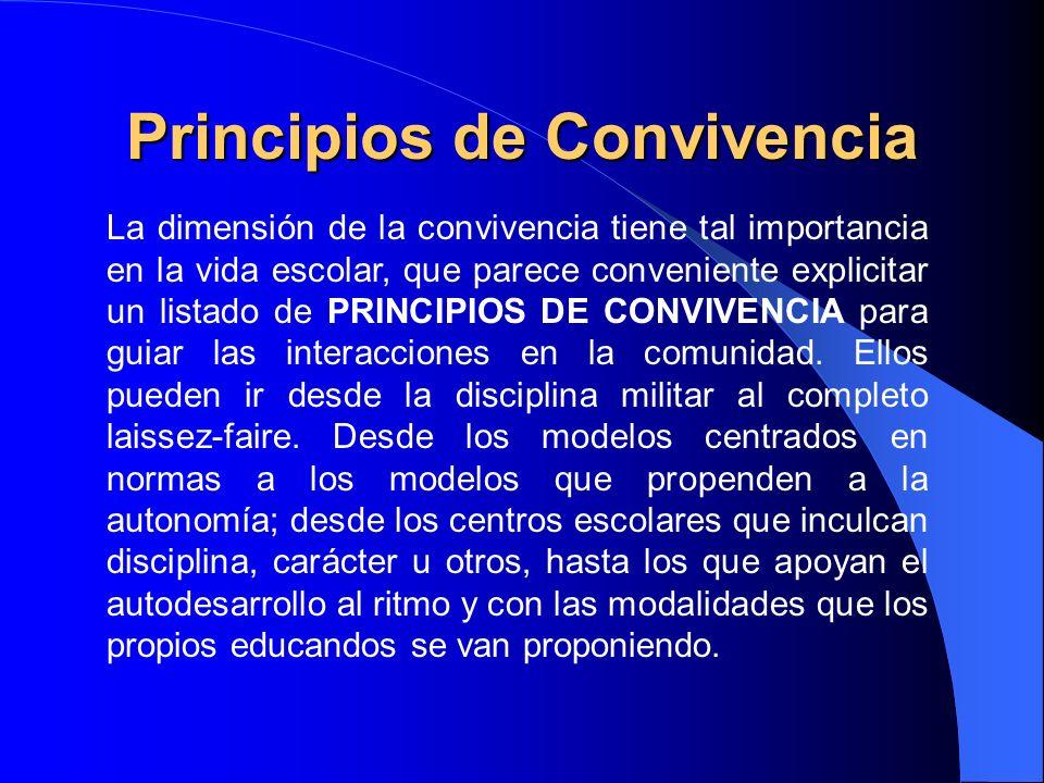 Principios de Convivencia La dimensión de la convivencia tiene tal importancia en la vida escolar, que parece conveniente explicitar un listado de PRI