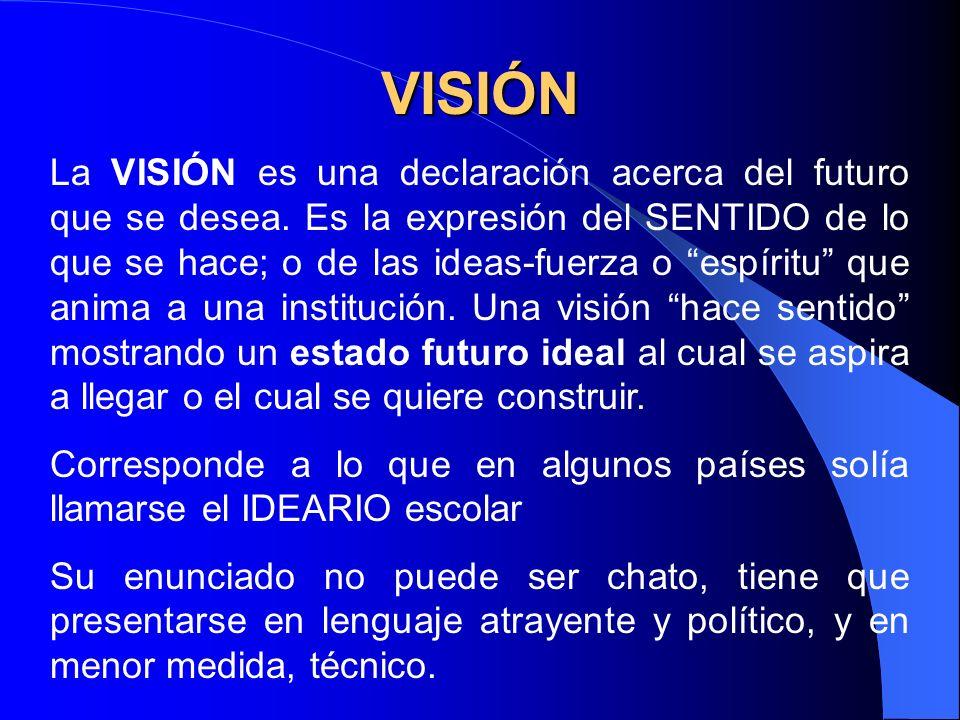 VISIÓN La VISIÓN es una declaración acerca del futuro que se desea. Es la expresión del SENTIDO de lo que se hace; o de las ideas-fuerza o espíritu qu