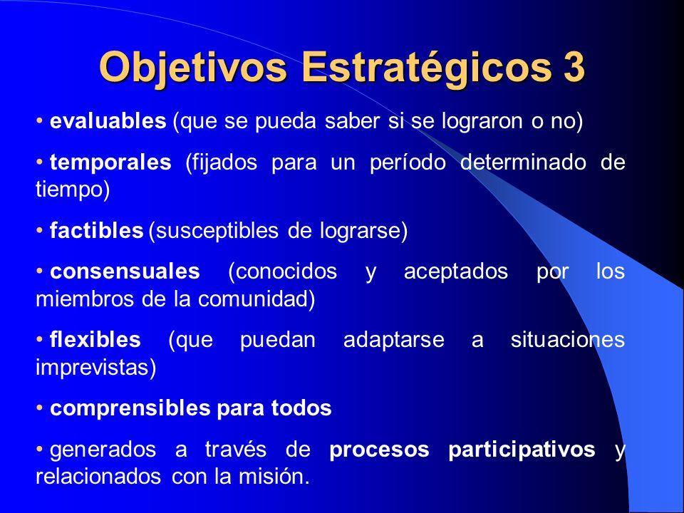 Objetivos Estratégicos 3 evaluables (que se pueda saber si se lograron o no) temporales (fijados para un período determinado de tiempo) factibles (sus