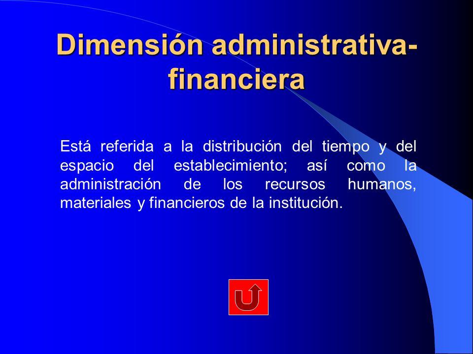 Dimensión administrativa- financiera Está referida a la distribución del tiempo y del espacio del establecimiento; así como la administración de los r