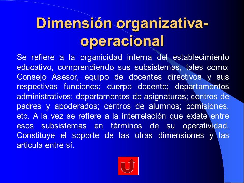 Dimensión organizativa- operacional Se refiere a la organicidad interna del establecimiento educativo, comprendiendo sus subsistemas, tales como: Cons