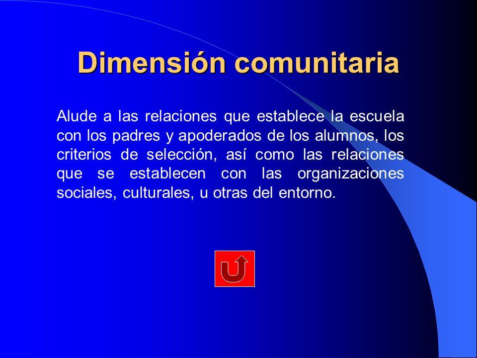Dimensión comunitaria Alude a las relaciones que establece la escuela con los padres y apoderados de los alumnos, los criterios de selección, así como