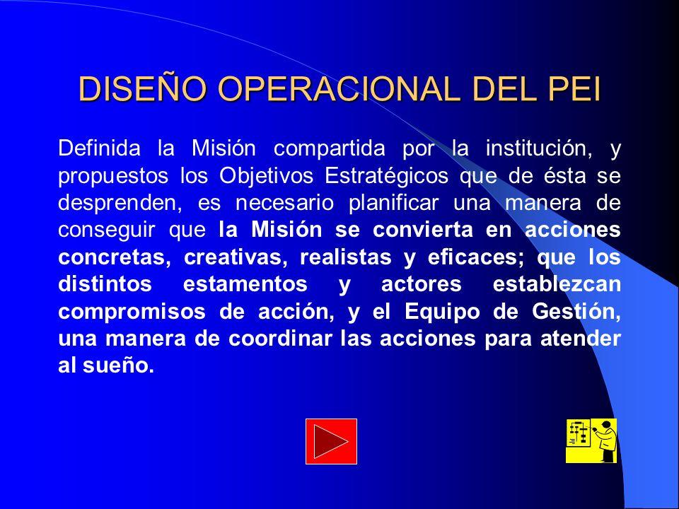 DISEÑO OPERACIONAL DEL PEI Definida la Misión compartida por la institución, y propuestos los Objetivos Estratégicos que de ésta se desprenden, es nec