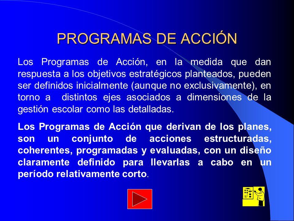 PROGRAMAS DE ACCIÓN Los Programas de Acción, en la medida que dan respuesta a los objetivos estratégicos planteados, pueden ser definidos inicialmente