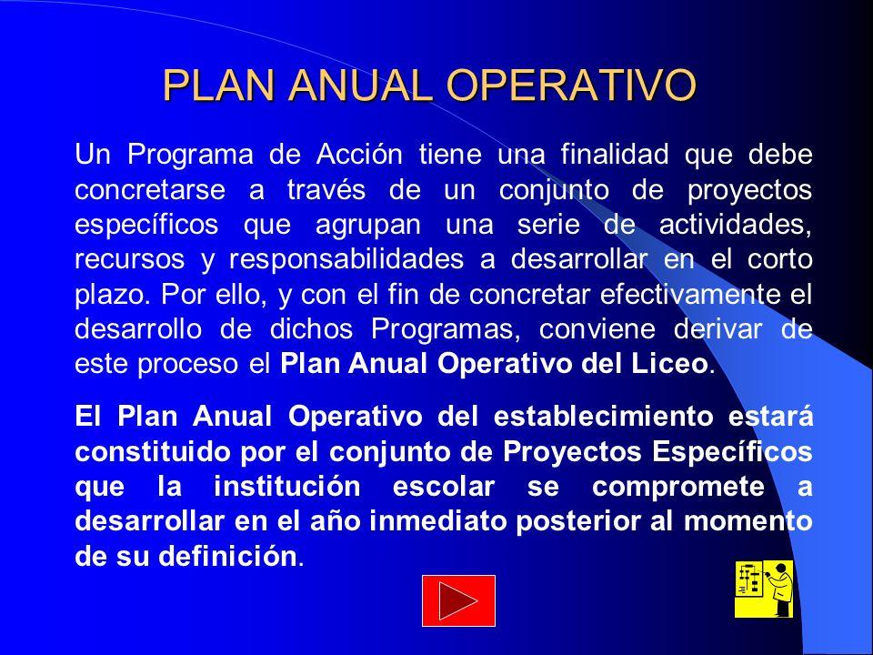 PLAN ANUAL OPERATIVO Un Programa de Acción tiene una finalidad que debe concretarse a través de un conjunto de proyectos específicos que agrupan una s