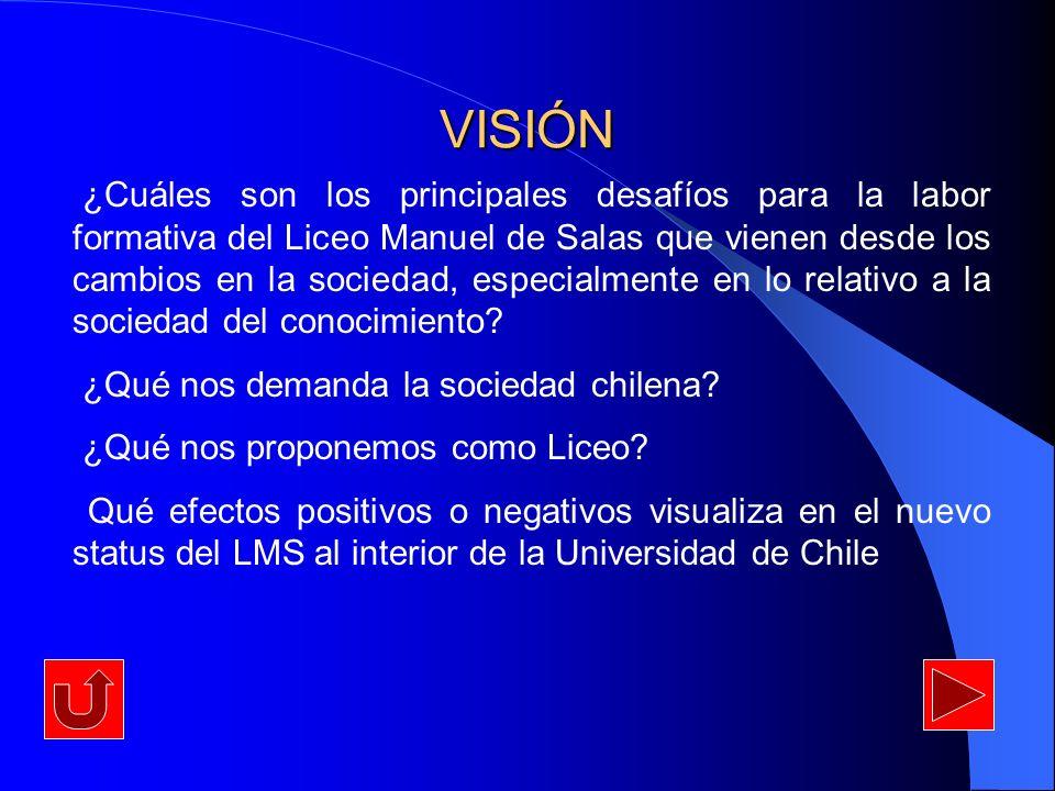 VISIÓN ¿Cuáles son los principales desafíos para la labor formativa del Liceo Manuel de Salas que vienen desde los cambios en la sociedad, especialmen