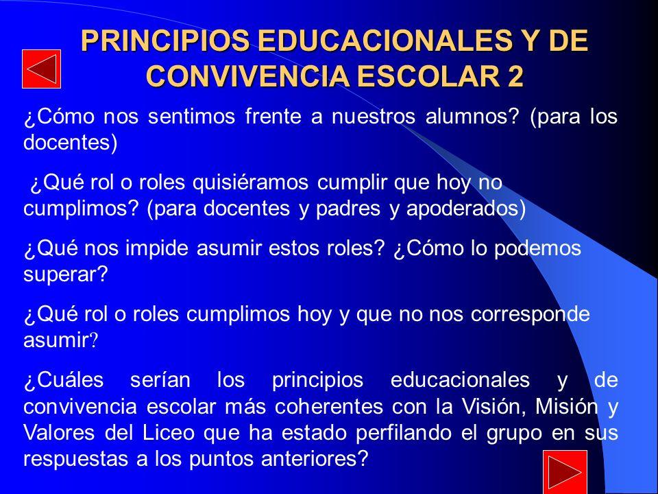 PRINCIPIOS EDUCACIONALES Y DE CONVIVENCIA ESCOLAR 2 ¿Cómo nos sentimos frente a nuestros alumnos? (para los docentes) ¿Qué rol o roles quisiéramos cum