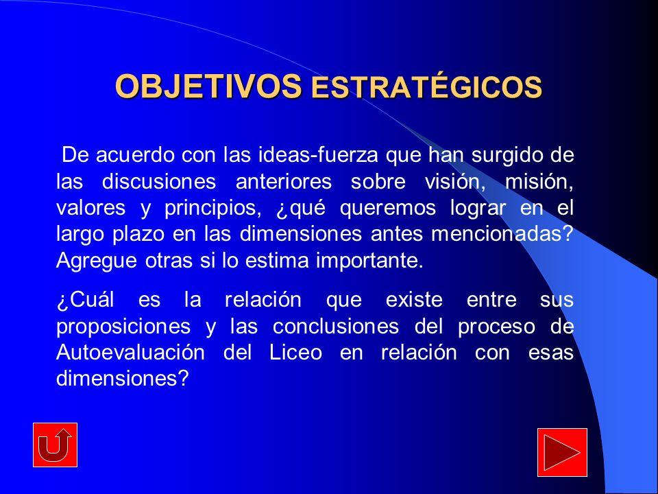 OBJETIVOS ESTRATÉGICOS De acuerdo con las ideas-fuerza que han surgido de las discusiones anteriores sobre visión, misión, valores y principios, ¿qué