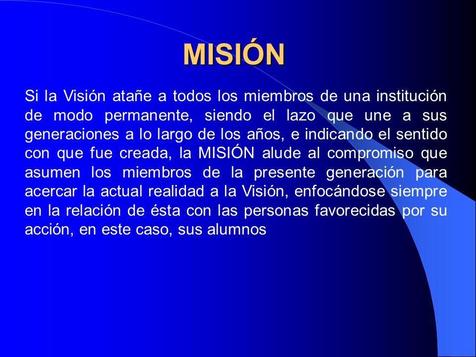 Compromiso colectivo La Misión es una declaración de compromisos con ciertas orientaciones, creencias y valores, de toda la comunidad educativa.