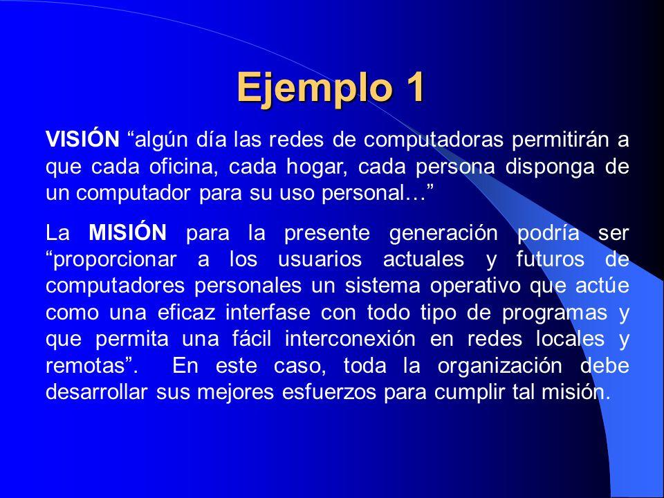 Ejemplo 2 VISION: la combinación del conocimiento con el trabajo productivo ayudará a los niños y jóvenes a salir de la pobreza y del abandono, sin que nieguen su cultura y su lengua.