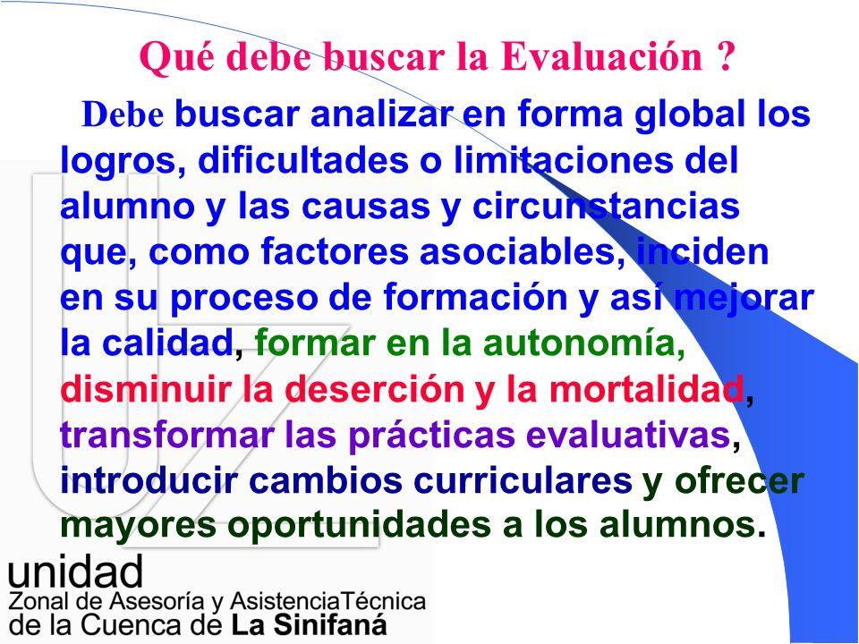 Los principales objetivos de la evaluación son: Valorar el alcance y la obtención de logros, competencias y conocimientos de los educandos; Determinar