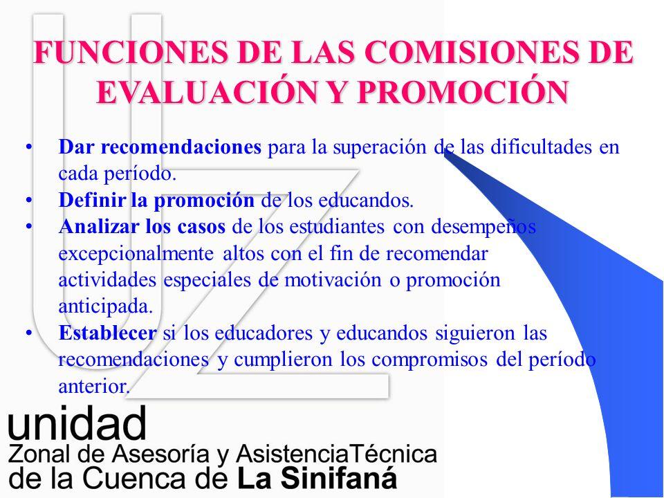 RESPONSABLE DE CONVOCARLO: El Rector COMISIONES DE EVALUACION Y PROMOCIÓN EL RESPONSABLE DE SU CONFORMACIÓN ES EL CONSEJO ACADEMICO ESTARÁ COMPUESTO P