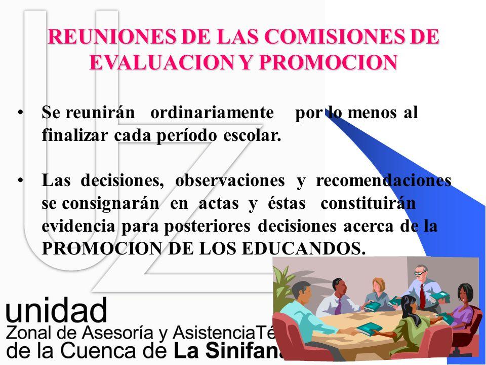 FUNCIONES DE LAS COMISIONES DE EVALUACIÓN Y PROMOCIÓN Dar recomendaciones para la superación de las dificultades en cada período. Definir la promoción